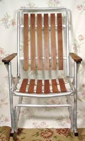Patio Rocking Chairs Metal 1 Vintage Metal Folding Redwood Wood Slat Rocking Lawn Chair Deck