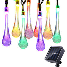 Festive Outdoor String Lights by Icicle Solar String Lights 15 7ft 8 Light Modes 20 Led Water Drop