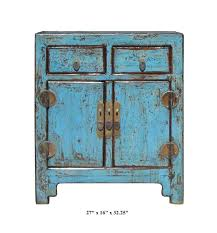 Rustic Cabinets Rustic Turquoise Lacquer Solid Wood End Table Small Cabinet F880