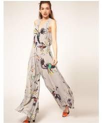 womens pant jumpsuit 2012 chiffon casual jumpsuit birds prints sleeveless v neck high