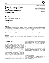 beyond white privilege geographies of white supremacy and settler