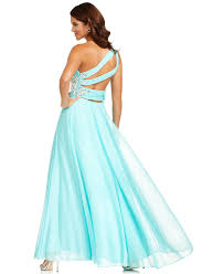 xscape dress sleeveless one shoulder beaded gown juniors prom