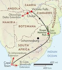 Africa Map Rivers South Africa Victoria Falls And Botswana Private Journey