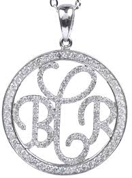 Monogrammed Necklace Glass Beads Bracelets Swirl Script Monogram Necklace Sterling Silver