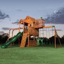 skyfort ii wooden swing set outdoor playset play fort and
