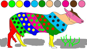 cow coloring game learn colors for kids animals colouring pages