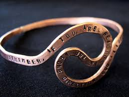 personalized bangle bracelet crafted personalized memorial u turn quote copper bangle