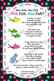 Dr Seuss Baby Shower Invitation Wording - novel concept designs dr seuss one fish two fish gender