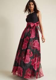maxi dresses eliza j party prestige floral maxi dress in black modcloth