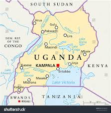 Map Of Uganda Uganda Political Map Capital Kampala National Stock Vector