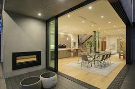 bathroom modern terrace two way fireplace and pouf also modern