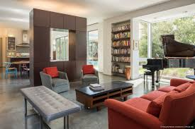 co axial house murphy mears architects semi open plan living dining and kitchen spaces overlooking the east garden