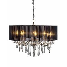 cambridge chrome 8 branch chandelier with black shade cambridge