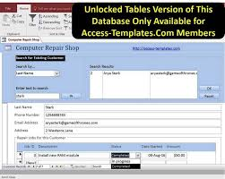 shop report template access database computer repair shop software templates jjj