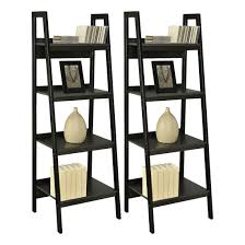decorating black wooden ladder bookshelf for home furniture ideas