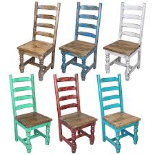 Ladder Back Dining Chairs Mexican Pine Painted Wood Ladder Back Dining Chair 7 Colors