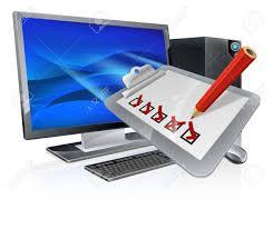 bureau enquete ordinateur de bureau avec clip board enquête voler hors de l écran