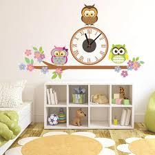kindergarten walls decor clock owl sticker wall clocks home decor