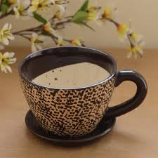 unravel india ceramic brown cup saucer planter