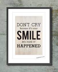 wall decor poster quote dr seuss don u0027t cry because it u0027s over