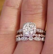 scalloped wedding band want to see mismatch bands stacks with smaller halo pic heavy