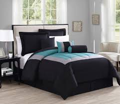 King Linen Comforter 7 Piece Rosslyn Black Teal Comforter Set