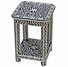 bone inlay side table mediterranean levantine syrian furniture inlaid with mother of
