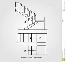 Floor Plan Front View by Top View And Front View Of A Quarter Space Landing Stair Stock