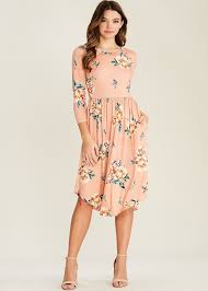 fit and flare dress florence floral fit flare dress with pockets blush modli