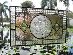 Vintage Transom Windows Inspiration Made Recycled Depression Glass Imperial Stained Glass Window