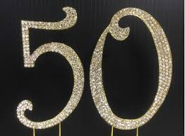 bling cake toppers gold rhinestone number 50 cake topper 50th birthday