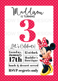 Minnie Invitation Card Minnie Mouse Party Baby A U0027s 3rd Birthday How Sweet This Is