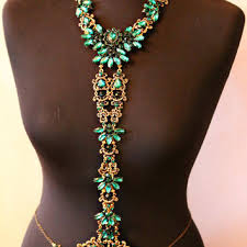 body jewelry necklace images Crystal body chain body jewelry emerald from getmanjewelry on jpg