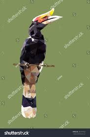 polygonal hornbill bird animal polygon vector stock vector