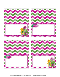 barney birthday food tent cards place cards