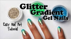 glitter gradient gel nails with loose glitter easy nail art