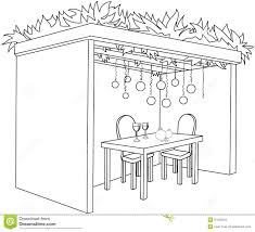 sukkah for sukkot with table coloring page royalty free stock