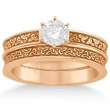 carved wedding band celtic engagement ring wedding band set 18k gold