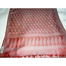 exquisite reversible silk and wool scarf hand woven by indian weavers