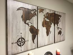 wood world map wall art carved 3 panel home decor world map