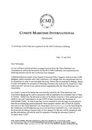 Legal Business Letter by Correspondence From The President Comite Maritime International