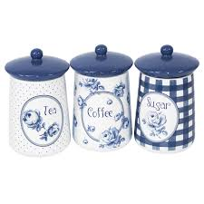 ebay kitchen canisters set of 3 katie alice blue u0026 white tea coffee sugar storage jars