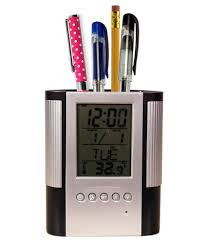 manisha enterprises digital alarm clock pen holder stand buy