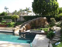 Backyard Pool With Slide - swimming pool rock slide