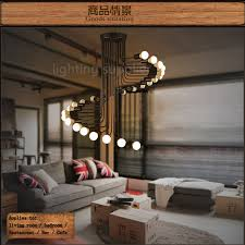 Light Fixtures For High Ceilings Loft Modern Pendant Light Iron Minimalist Spiral Staircase L