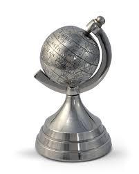 decorative aluminium world globe ornament silver homescapes