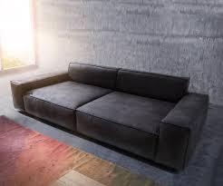 sofa anthrazit bigsofa sirpio anthrazit 270x125 cm kedernaht vintage mit kissen