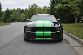 Black Mustang With Stripes Black Mustang U2013 Neon Green Shelby Stripes And Rocker Panels Car