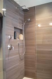 modern master bathroom with rain shower head by davinci remodeling