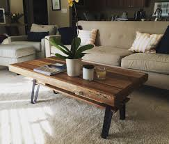 buy a hand crafted reclaimed wood coffee table with flat iron legs